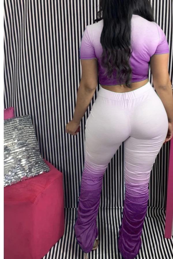 LW Casual Gradual Change Purple Two Piece Pants Set
