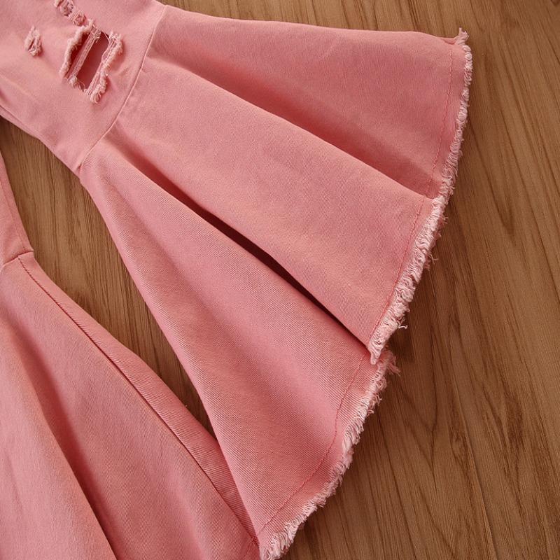 lovely Trendy Broken Holes Flared Pink Girl Jeans