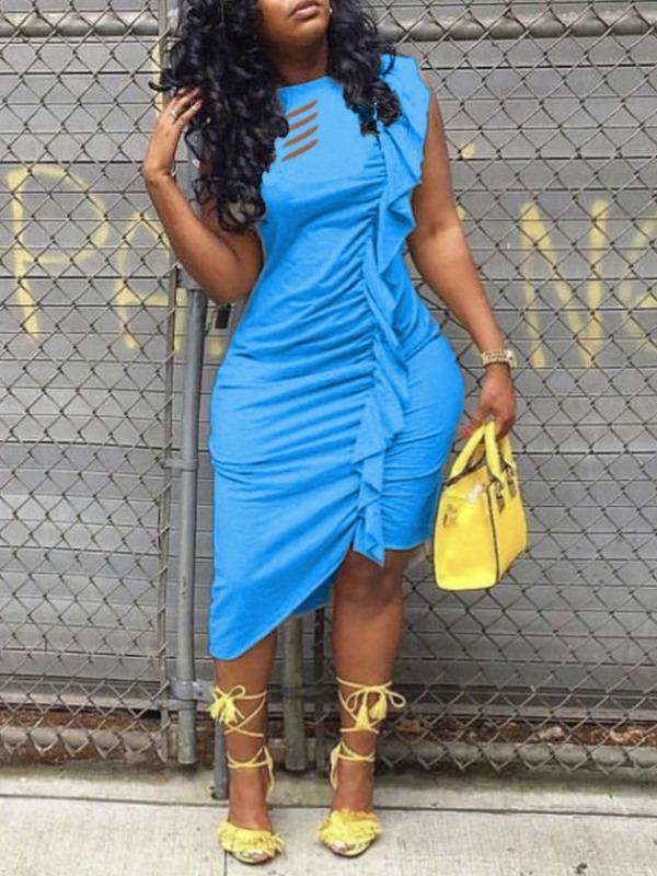 LW Plus Size Fold Design Asymmetrical Dress