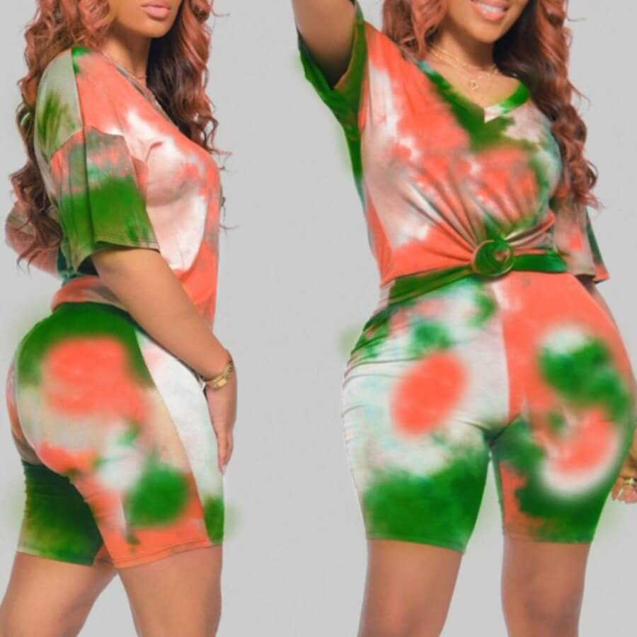 Lovely Casual Tie-dye Multicolor Plus Size Two-piece Shorts Set