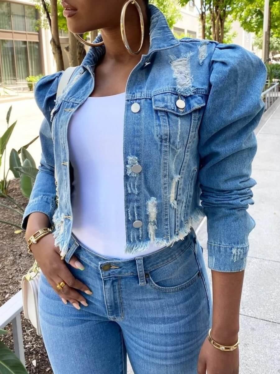 Lovely Street Turndown Collar Buttons Design Blue