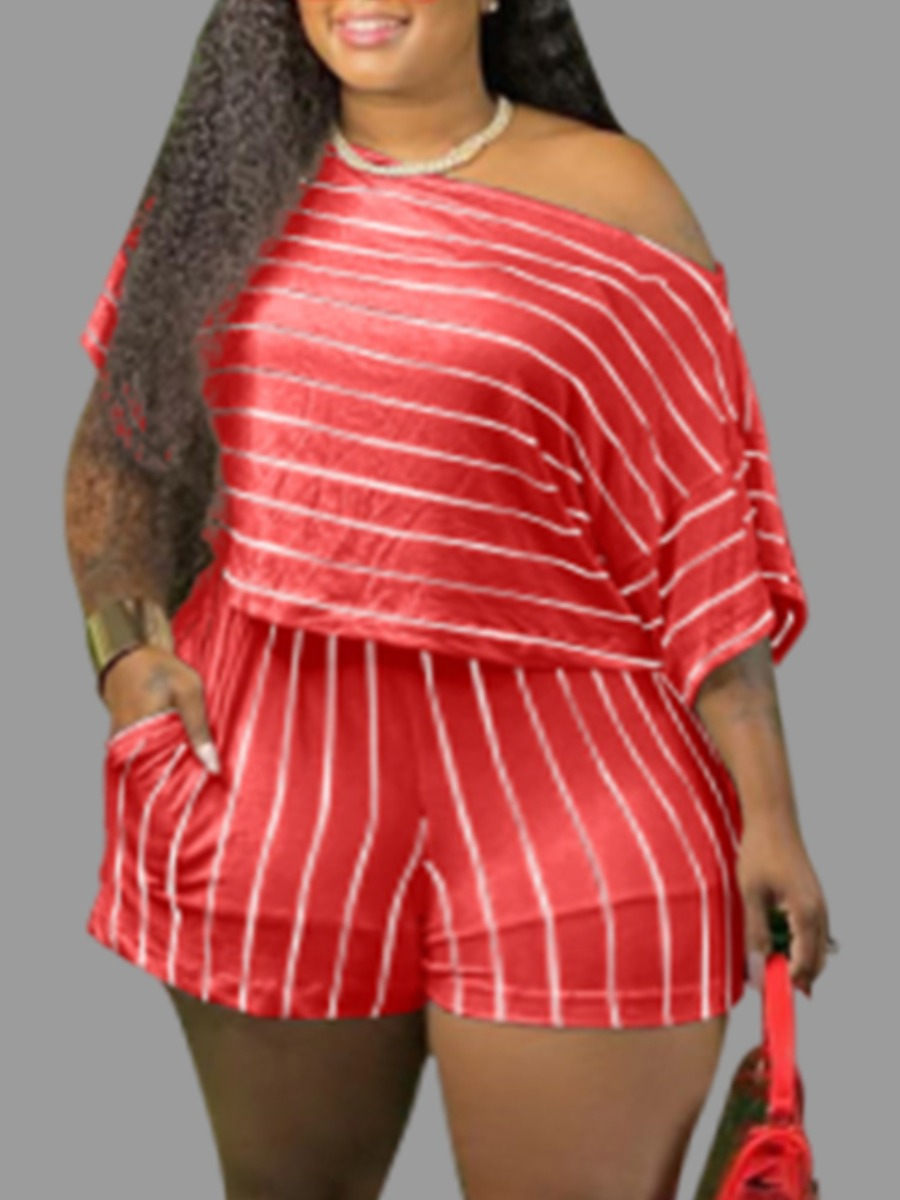Lovely Casual Striped Red Plus Size Two-piece Shorts Set фото