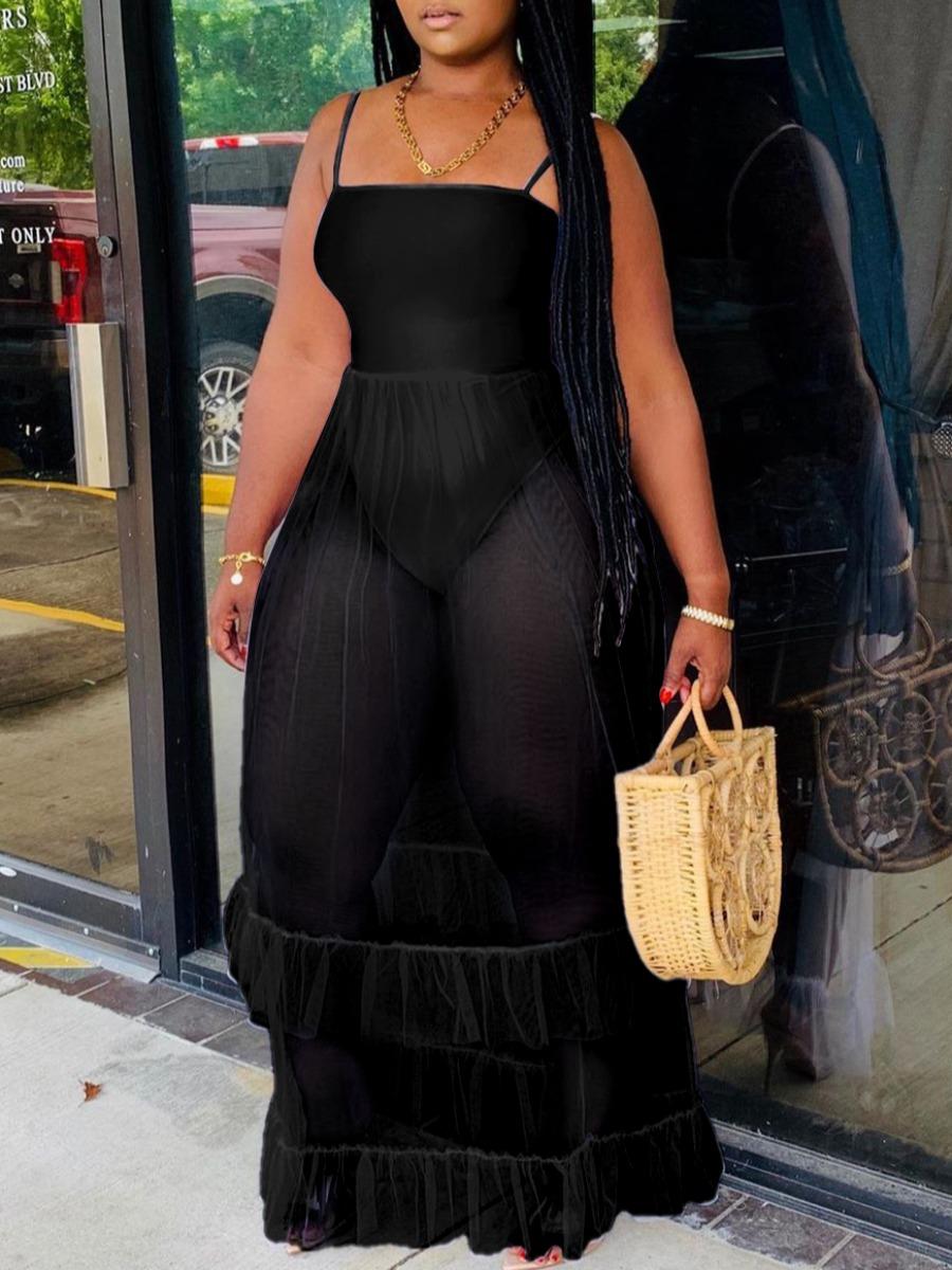LW Trendy Spaghetti Strap Fold Design Black Maxi Dress