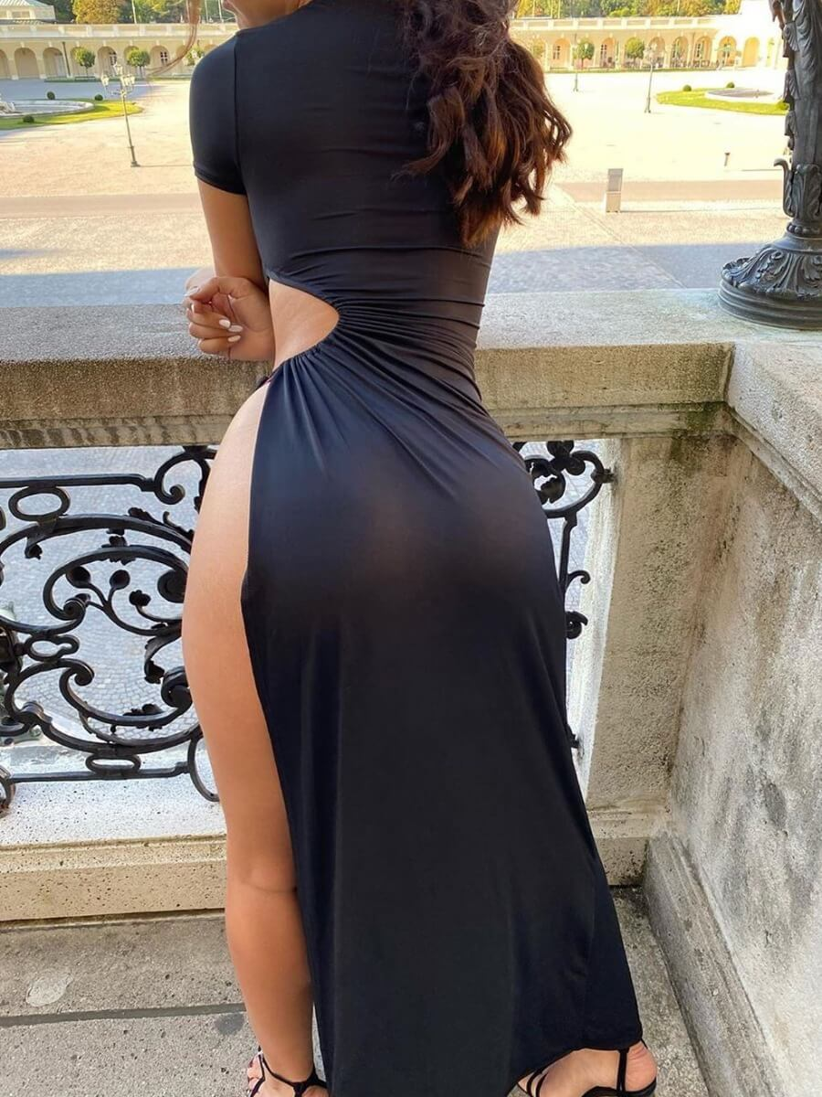 Lovely Sexy Lace-up Side High SlitBlack Maxi Dres