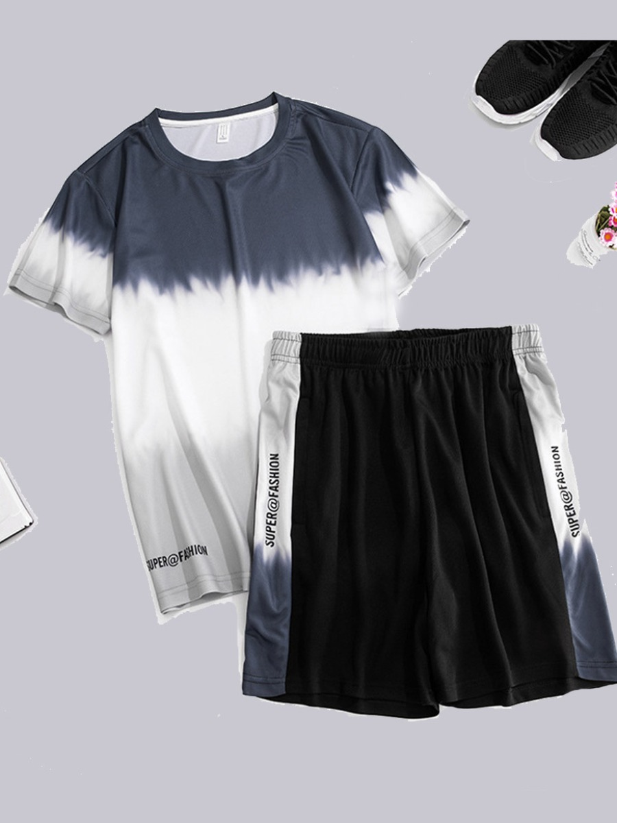 Men lovely Casual O Neck Gradient Patchwork Deep Blue Two-piece Shorts Set фото