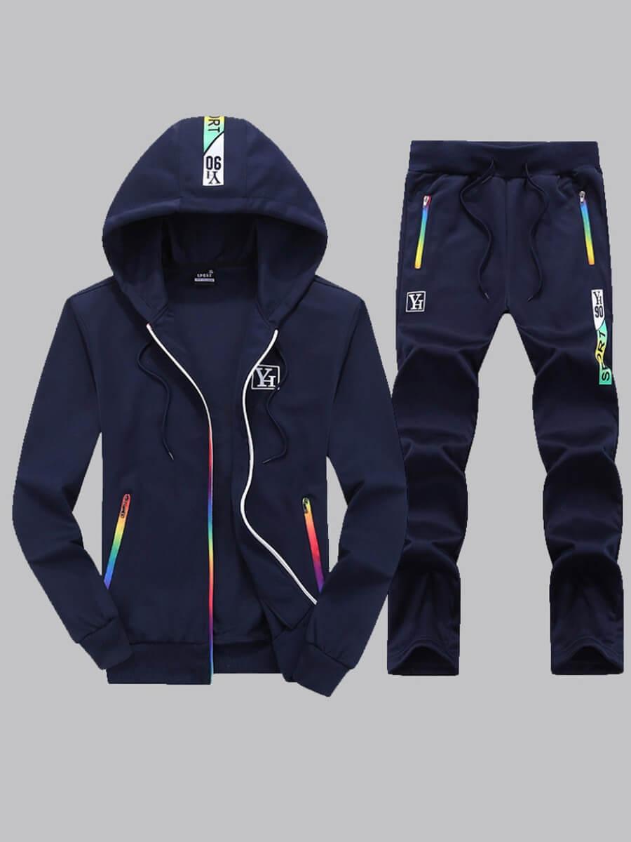 LW COTTON Men Sportswear Zipper Design Deep Blue Two-piece Pants Set