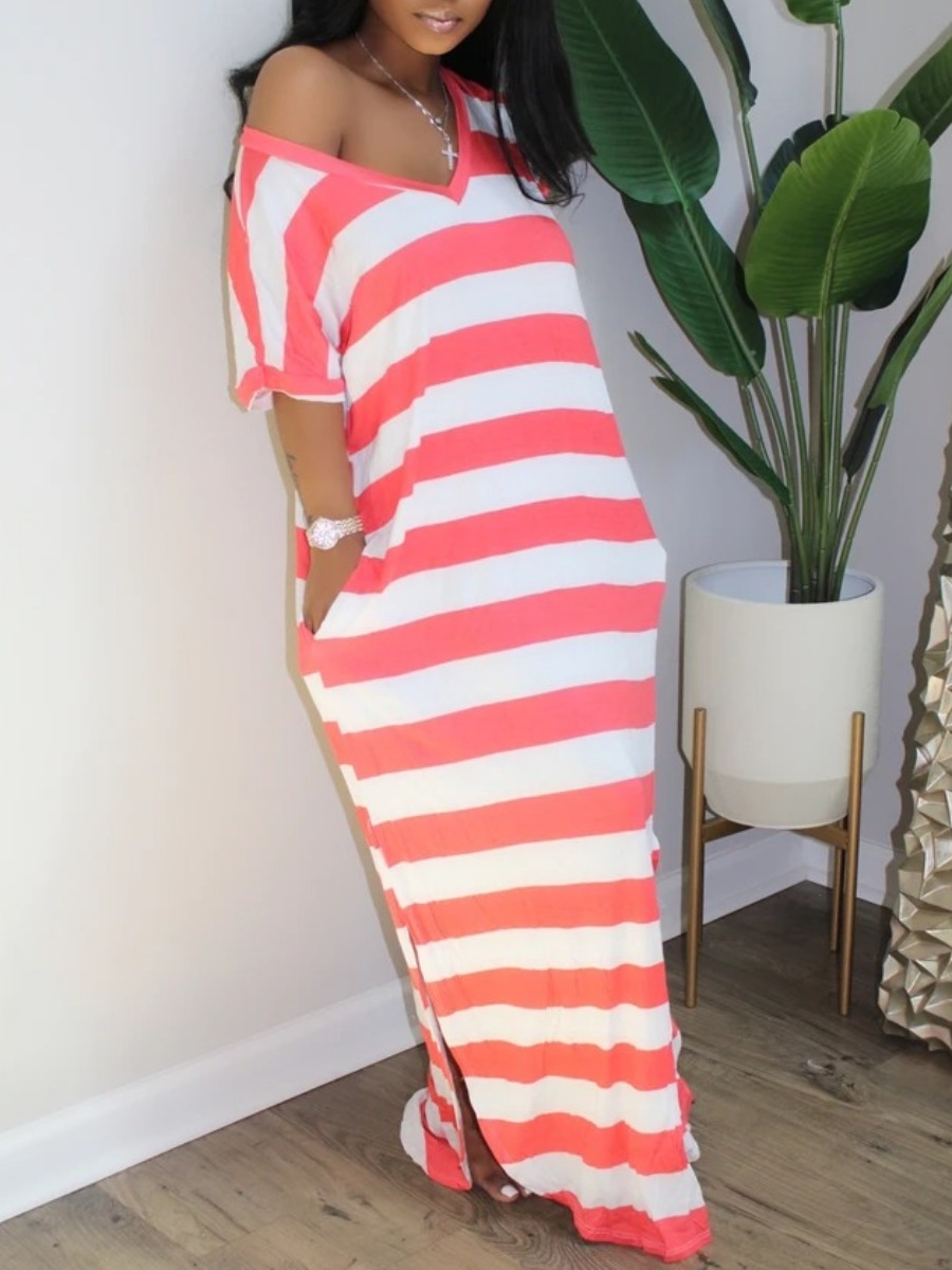 Lovely Casual V Neck Striped Side Slit Red Maxi Dress фото