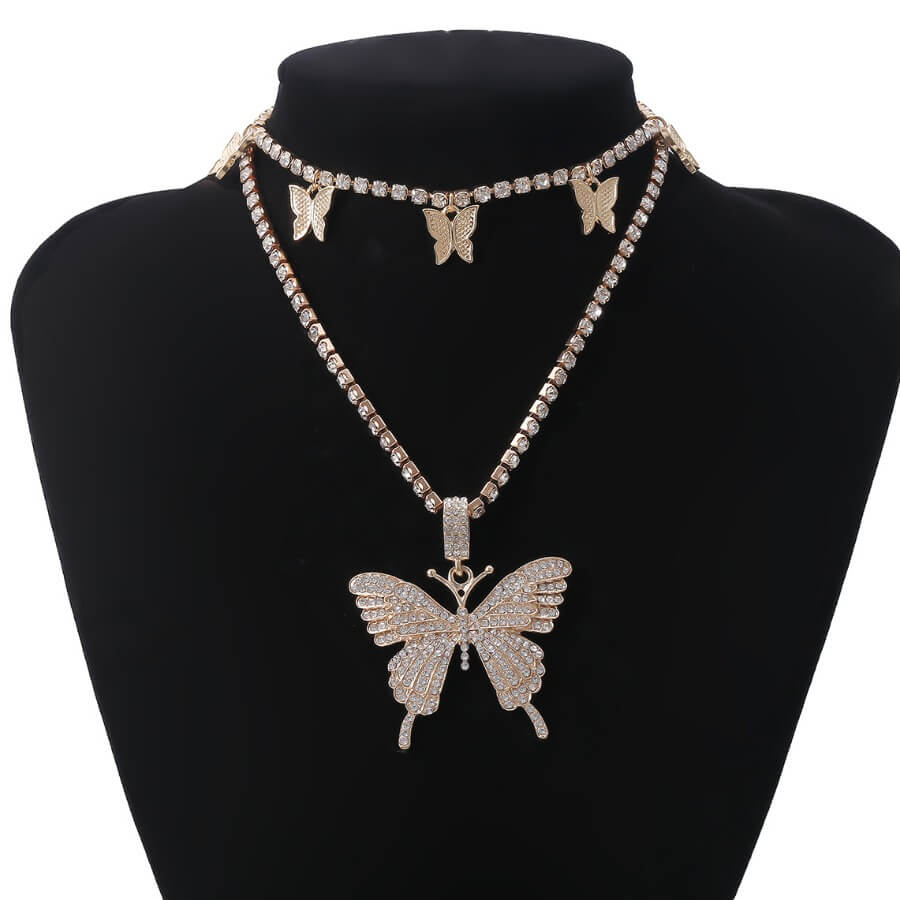 Lovely Chic Butterfly Gold Necklace фото