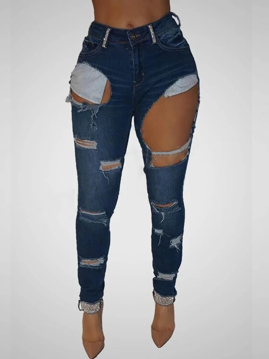 Lovely Stylish Hollow-out Deep Blue Jeans фото