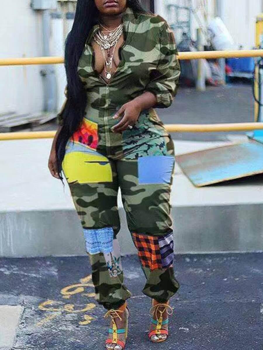 Plus Size Jumpsuit Lovely Trendy Zipper Design Camo Print Plus Size One-piece Jumpsuit фото