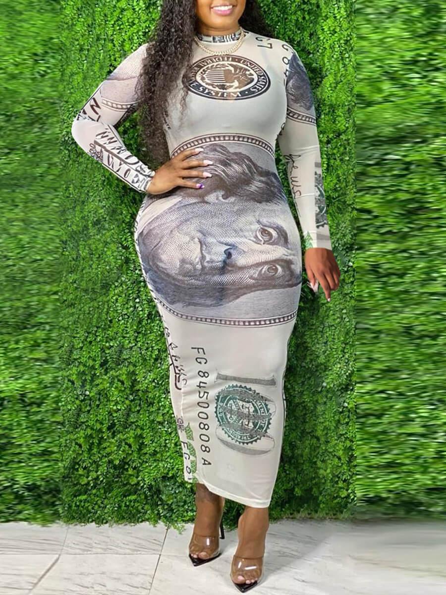 Lovely Bohemian O Neck Print White Ankle Length Plus Size Dress фото