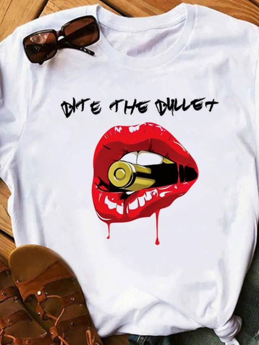LW Leisure O Neck Lip Print White T-shirt