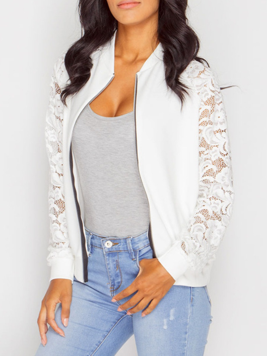 Coat&Jacket lovely Sportswear Lace Patchwork White Coat фото