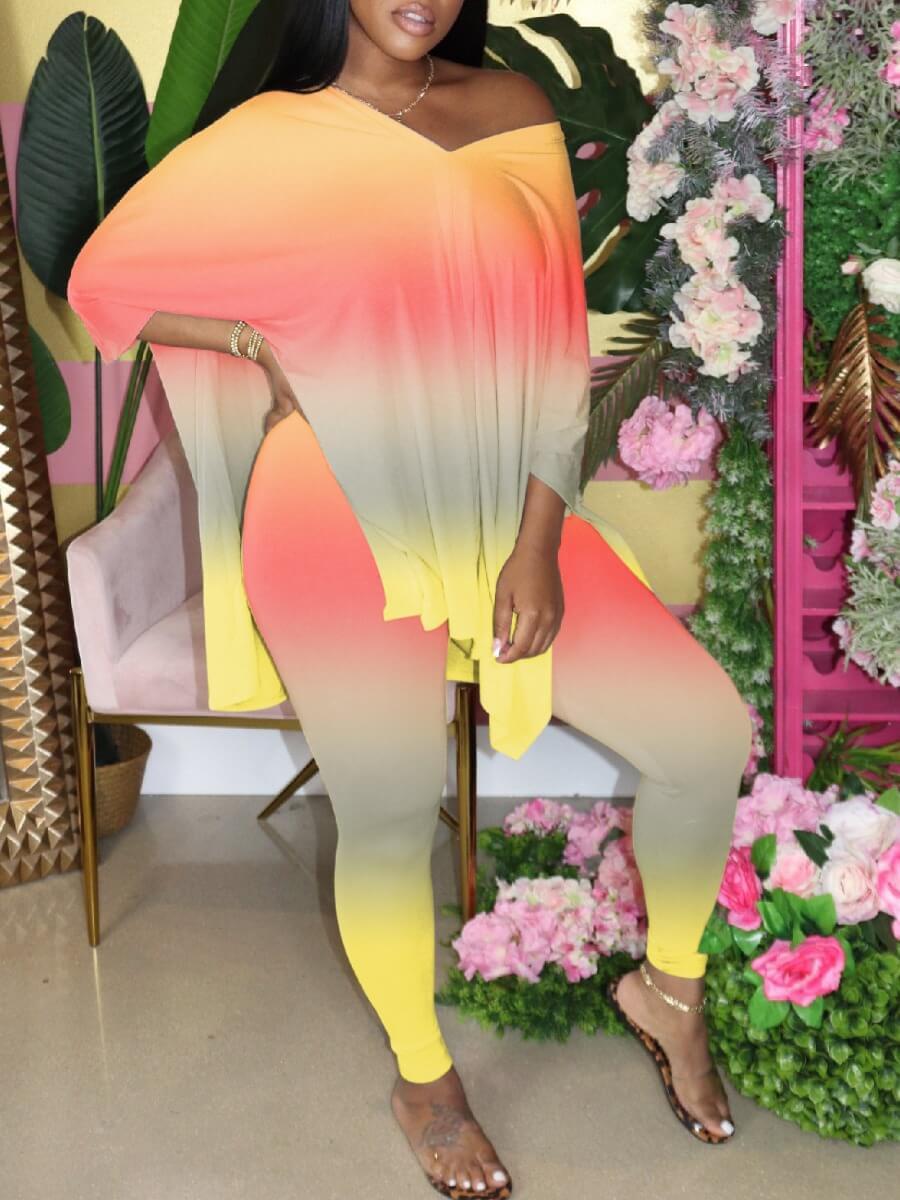 Lovely Leisure V Neck Gradient JacinthPlus Size Two-piece Pants Set фото