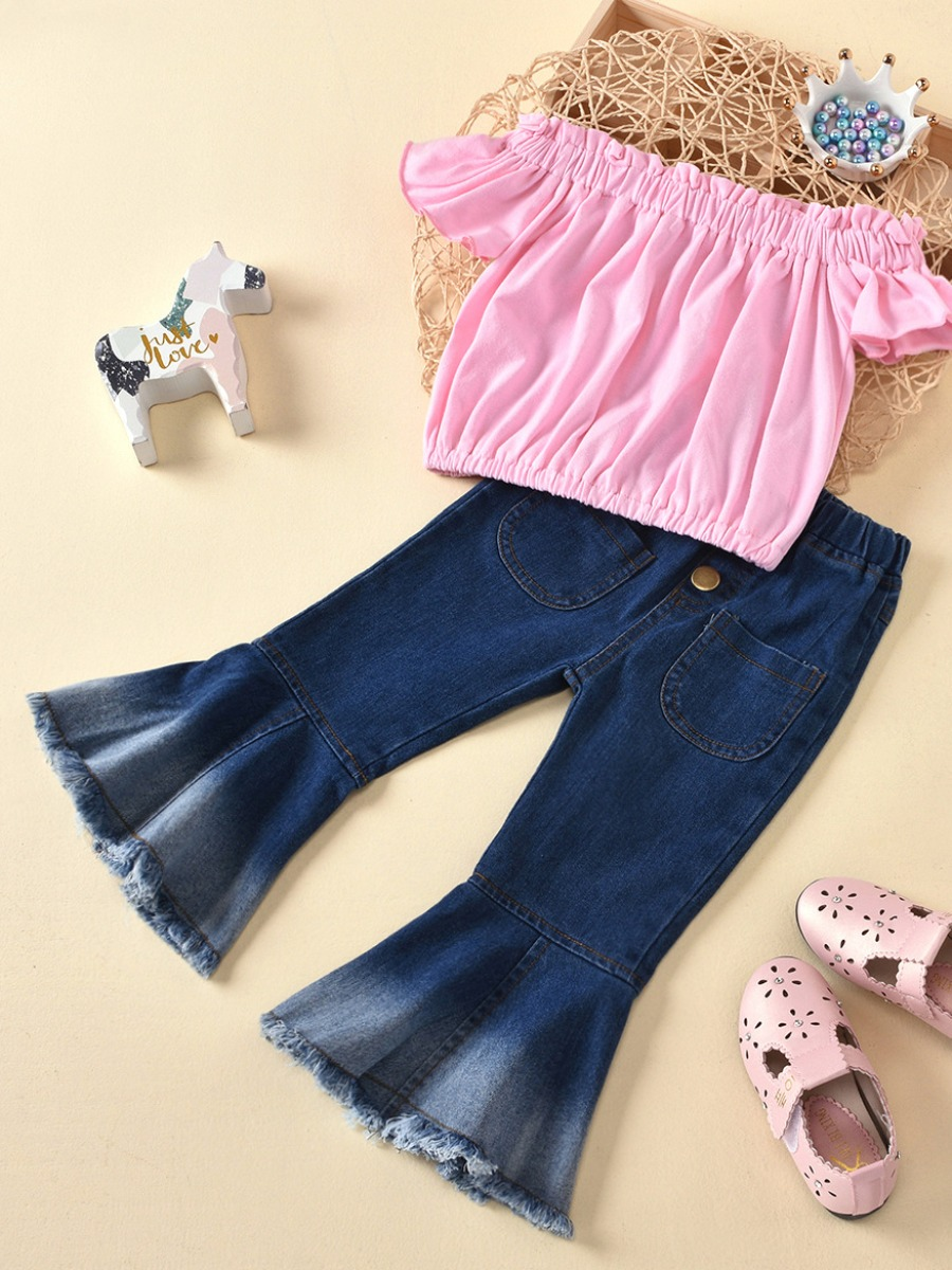 Girls Two-piece Pants Set lovely Casual Fold Design Pink Girl Two-piece Pants Set фото