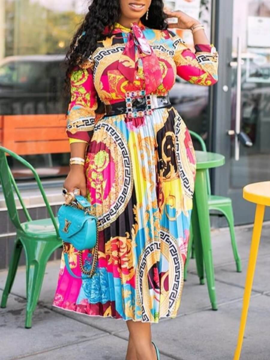 Lovely Stylish Print Multicolor Mid Calf Dress фото