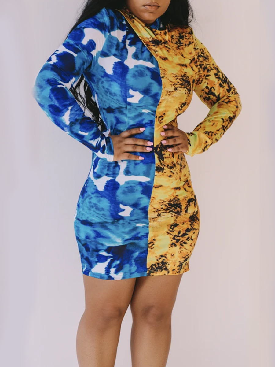 Lovely Trendy O Neck Print Patchwork Blue Mini Dress фото