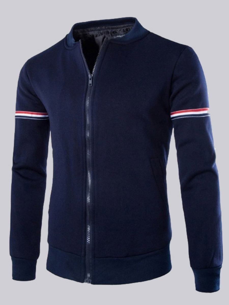 Men lovely Casual Zipper Design Patchwork Navy Blue Jacket фото
