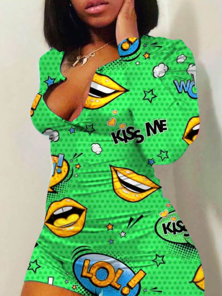 Lovelywholesale coupon: LW BASICS Leisure Lip Print Green One-piece Romper