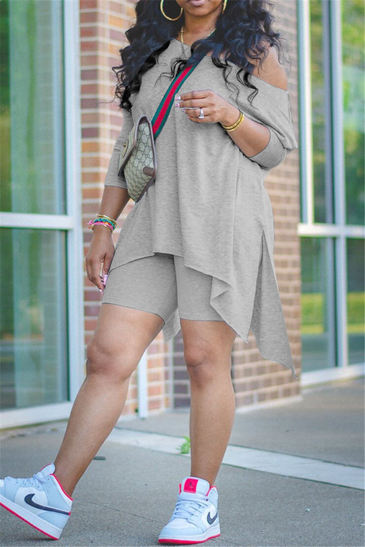 Lovely Casual Asymmetrical Grey Plus Size Two-piece Shorts Set фото