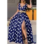 lovely Trendy Deep V Neck Dot Print Blue Maxi Dress