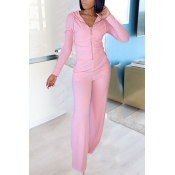 lovely Leisure Zipper Design Pink Two Piece Pants
