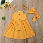 lovely Stylish Buttons Design Yellow Girl Mid Calf Dress