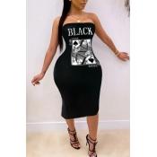 lovely Trendy Dew Shoulder Print Black Knee Length