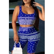 lovely Trendy Print Blue Plus Size Two-piece Short