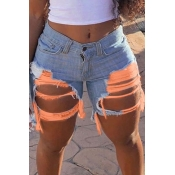 Lovely Sexy Hollow-out Orange Denim Shorts