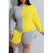 lovely Casual O Neck Patchwork Yellow Plus Size Tw