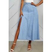 lovely Casual Side High Slit Blue Denim Skirt