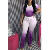 lovely Casual Gradual Change Purple Two Piece Pant