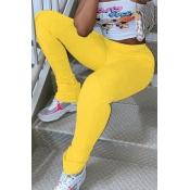 lovely Casual Skinny Yellow Leggings