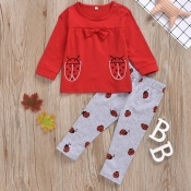 lovely Casual O Neck Print Red Girl Two-piece Pant