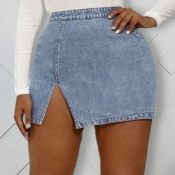 lovely Casual Side Slit Blue Denim Skirt
