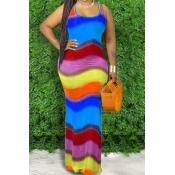 lovely Bohemian Rainbow Striped Blue Maxi Dress