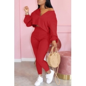 lovely Casual Zipper Design Red Two Piece Pants Set