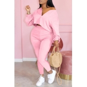 Lovely Casual Zipper Design Pink Plus Size Two-pie