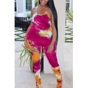 lovely Stylish Tie-dye Rose Red Plus Size One-piec