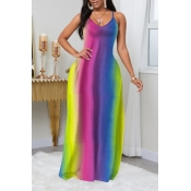 Lovely Casual Striped Multicolor Maxi Dress