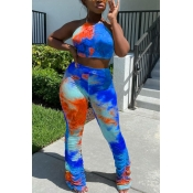 lovely Stylish Tie Dye Backless Blue Two Piece Pan