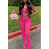 lovely Casual Dew Shoulder Rose Red Two-piece Pants Set