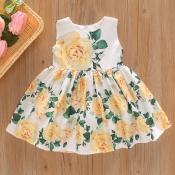 lovely Stylish O Neck Floral Print White Girl Knee