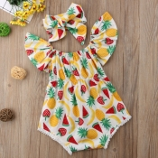 lovely Sweet Print Yellow Girl One-piece Romper