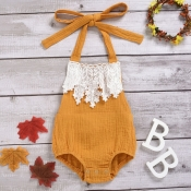 lovely Sweet Patchwork Yellow Girl One-piece Rompe