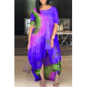 lovely Casual O Neck Tie-dye Purple Maxi Plus Size
