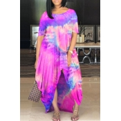 lovely Casual O Neck Tie-dye Light Pink Maxi Plus