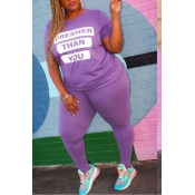 lovely Street Letter Print Purple Plus Size Two-pi