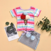 lovely Casual Rainbow Striped Multicolor Girl Two-piece Skirt Set